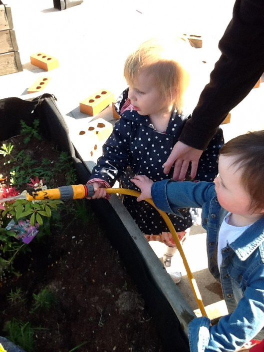 Helping to Water the Roof Garden Plants