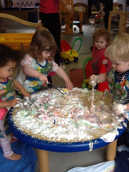 Shaving Foam & Paint Messy Play