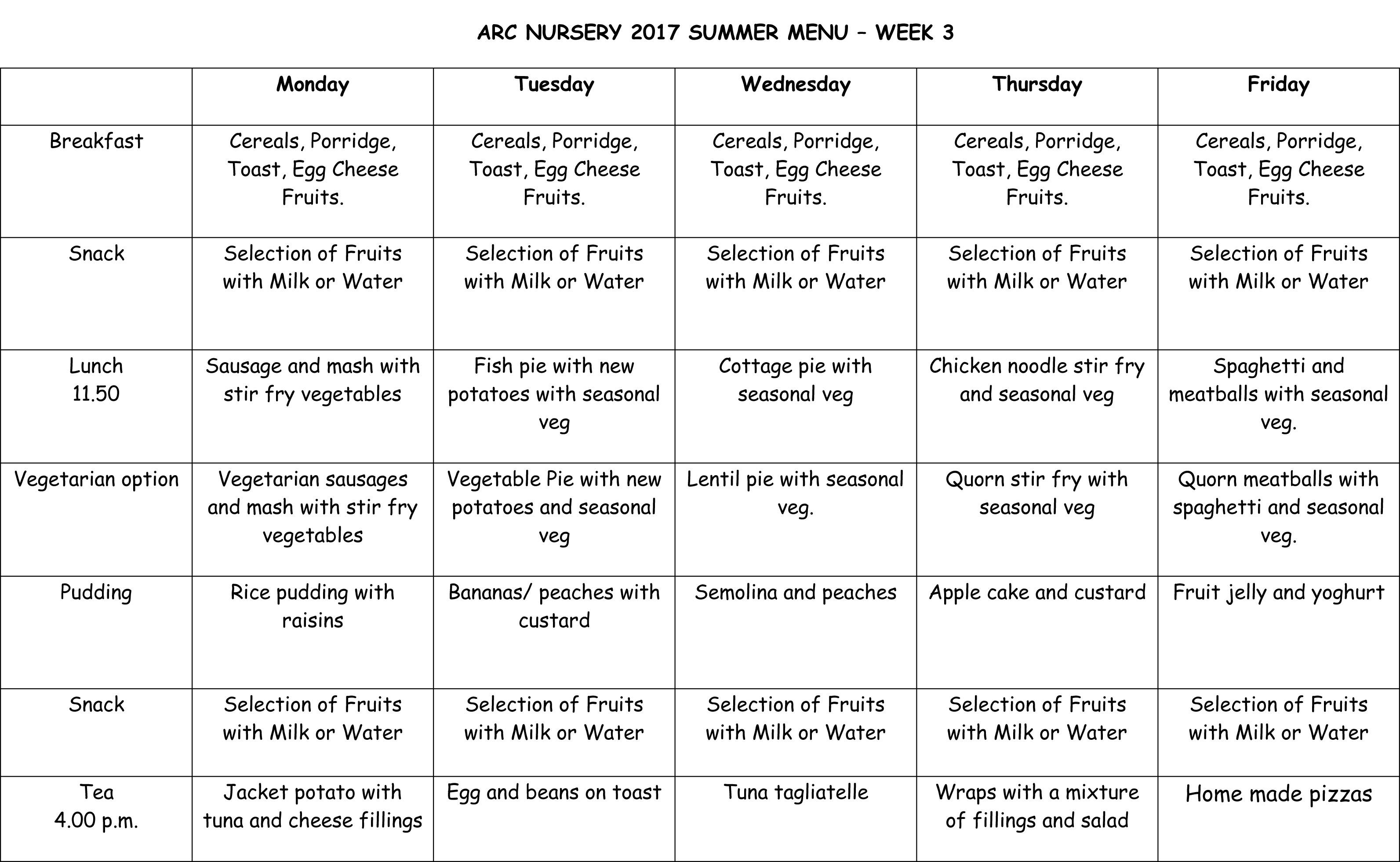Arc Nursery 2017 Summer Menu - Week 3