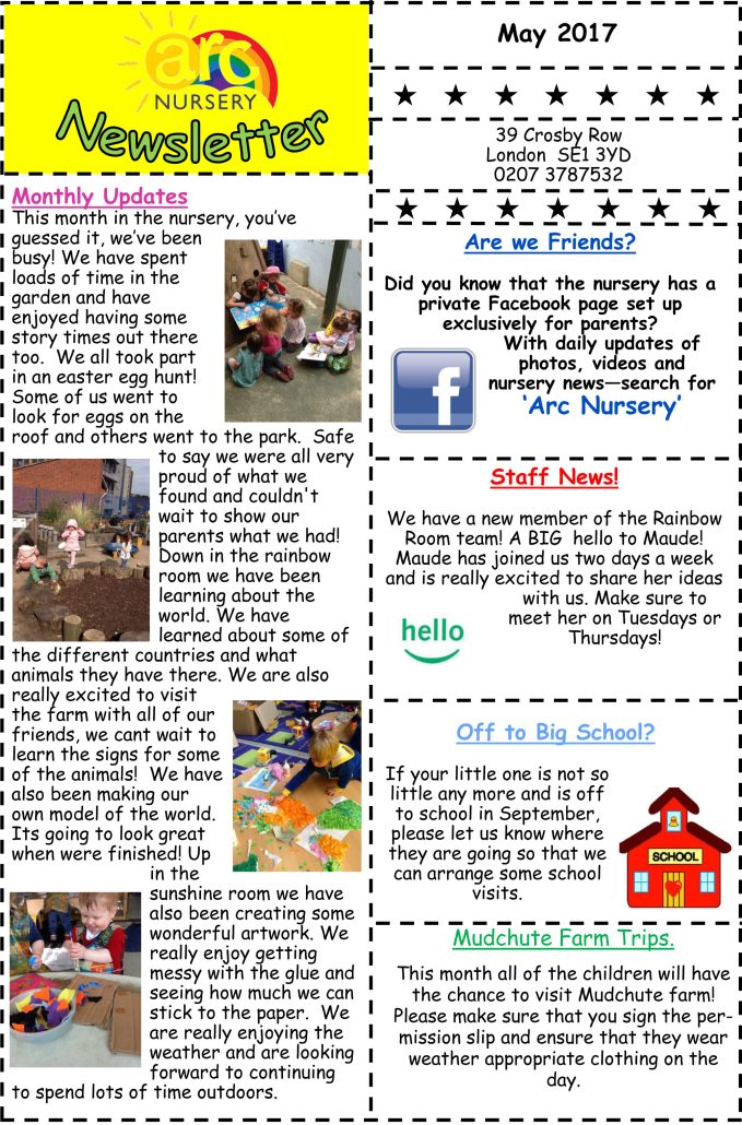 Arc Nursery May 2017 Newsletter