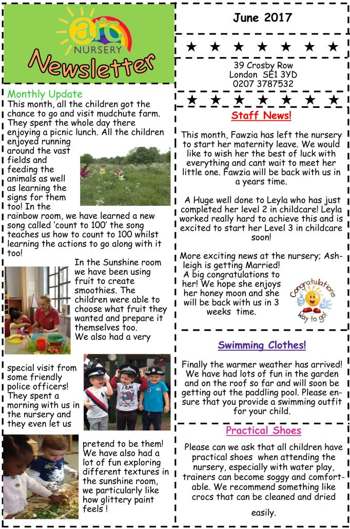Arc Nursery June 2017 Newsletter