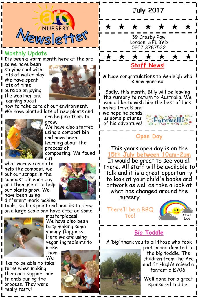Arc Nursery July 2017 Newsletter