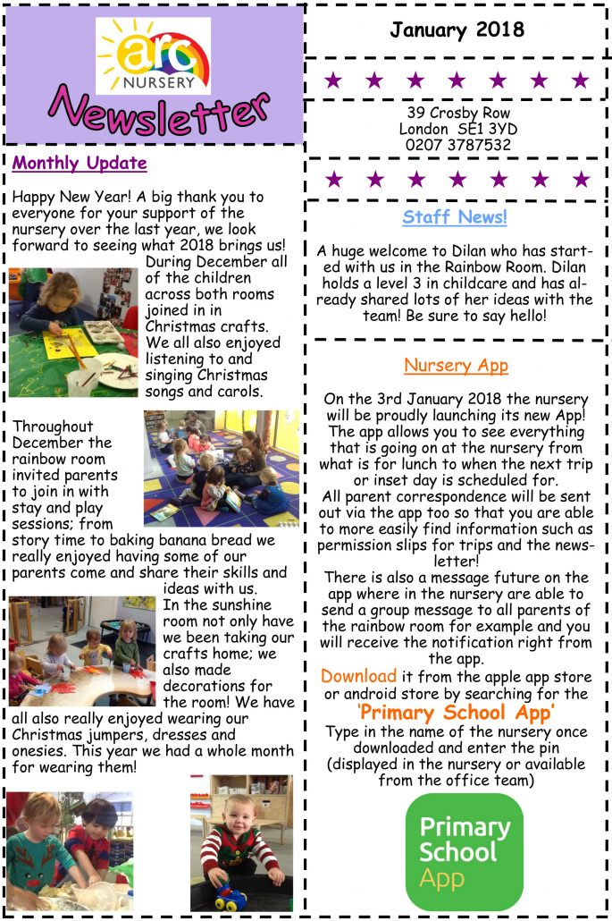 Arc Nursery January 2018 Newsletter