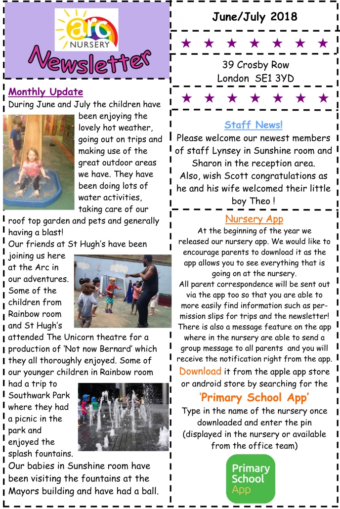 Arc Nursery June/July 2018 Newsletter