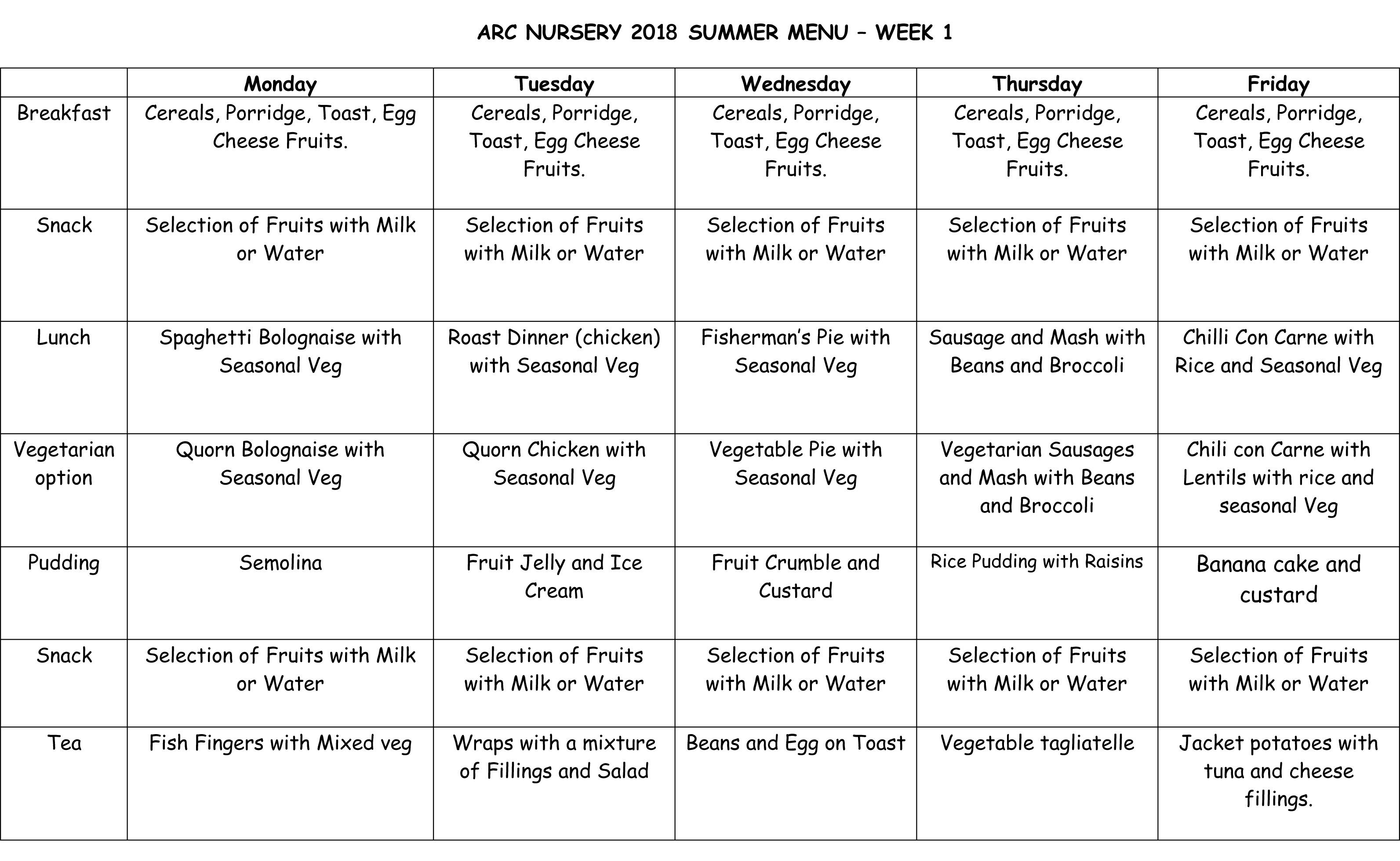 Arc Nursery 2018 Summer Menu - Week 1