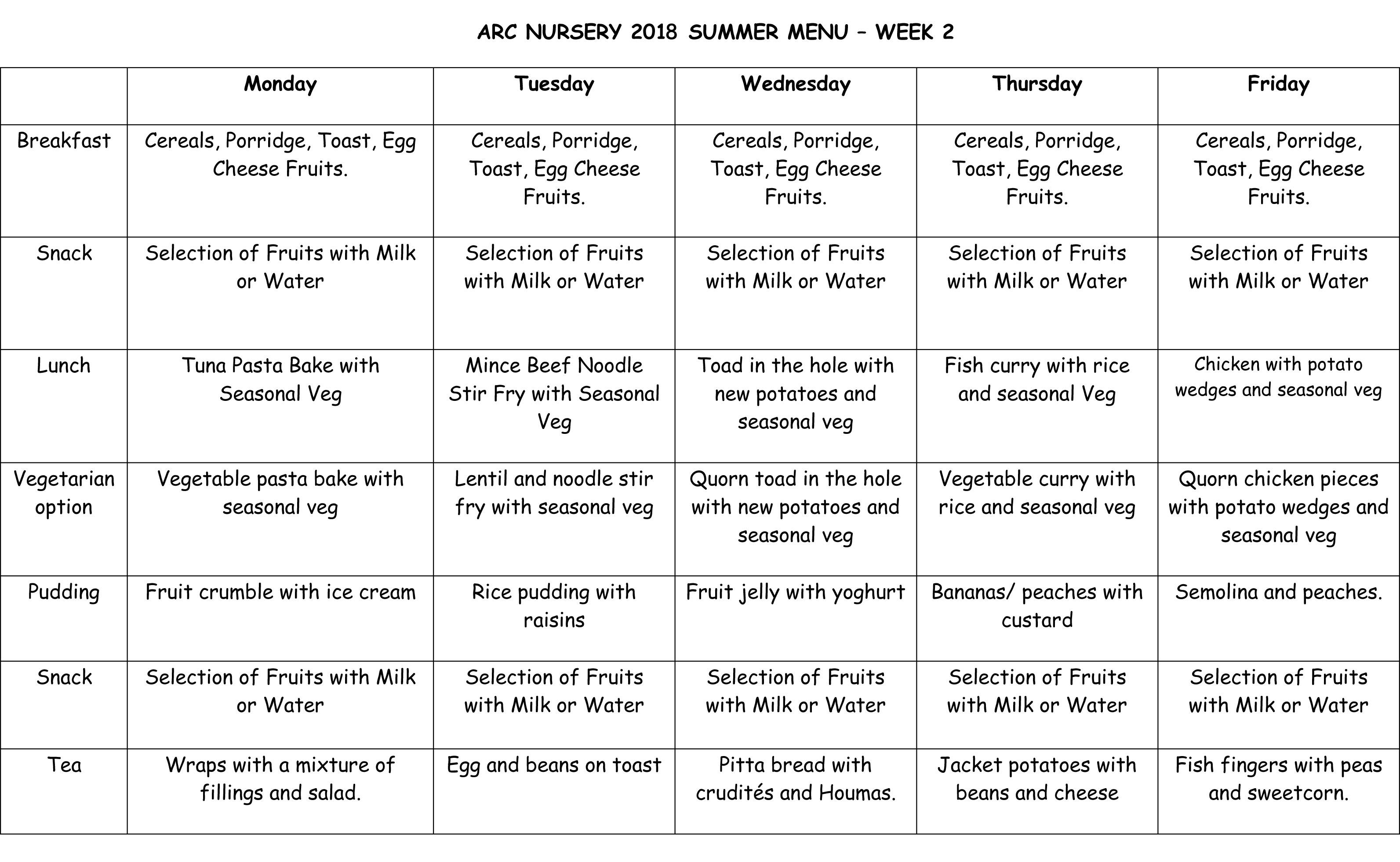 Arc Nursery 2018 Summer Menu - Week 2