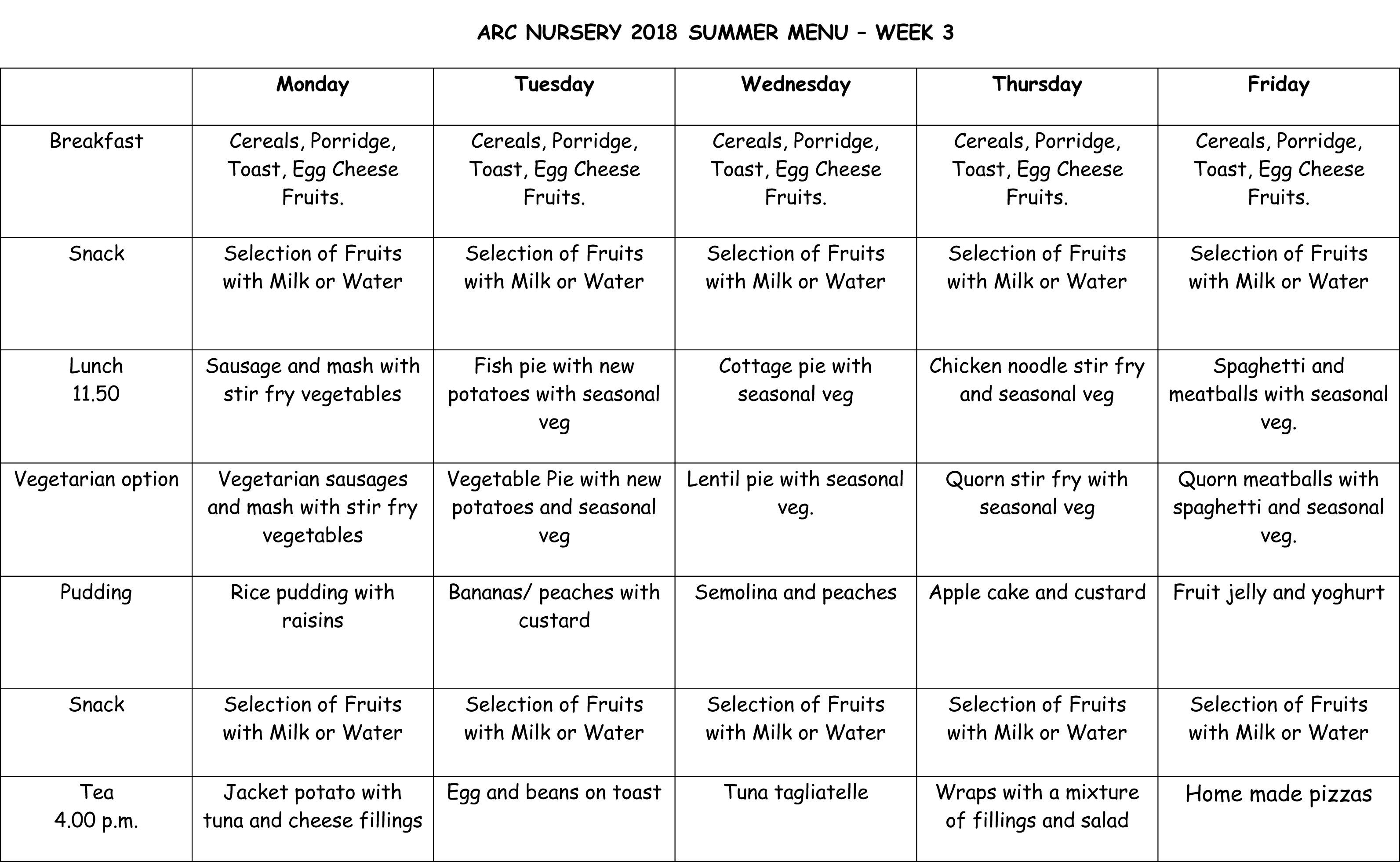 Arc Nursery 2018 Summer Menu - Week 3