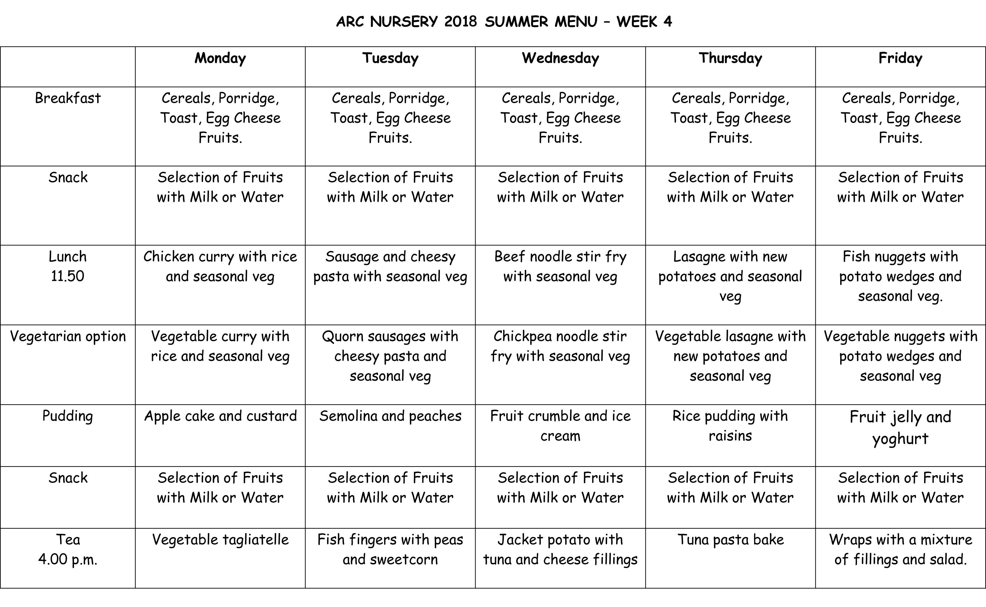 Arc Nursery 2018 Summer Menu - Week 4