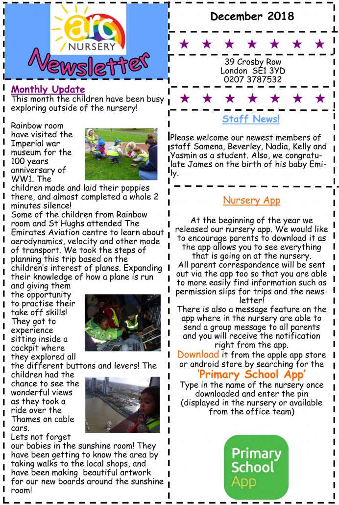 Arc Nursery December 2018 Newsletter