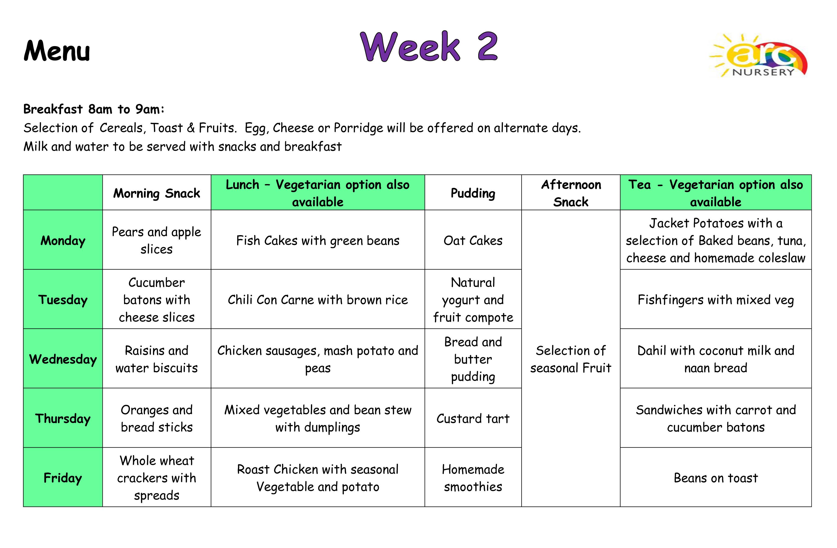 Arc Nursery Menus - Week 2