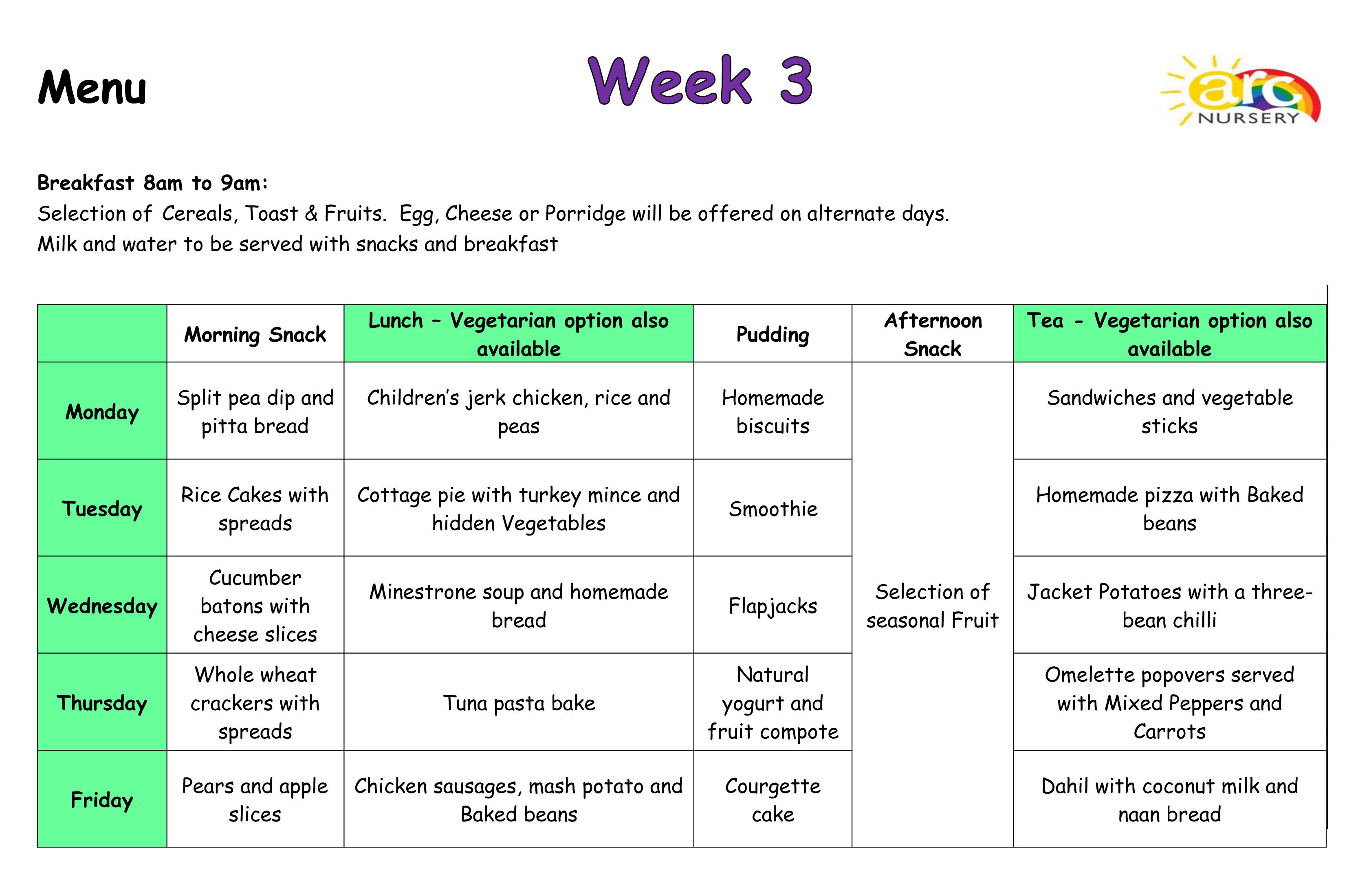 Arc Nursery Menus - Week 3