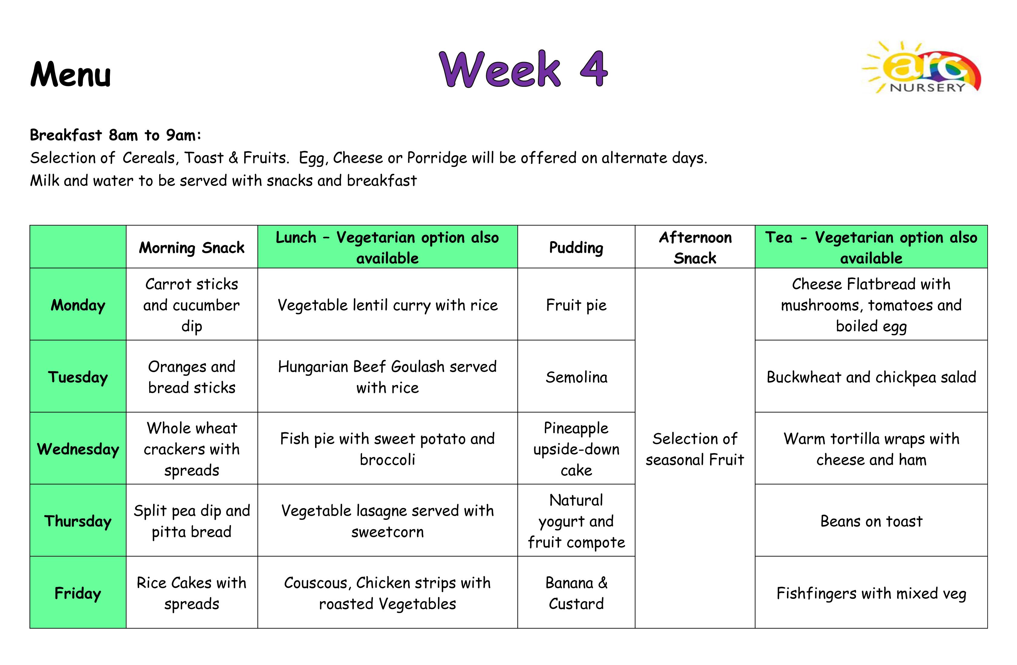 Arc Nursery Menus - Week 4