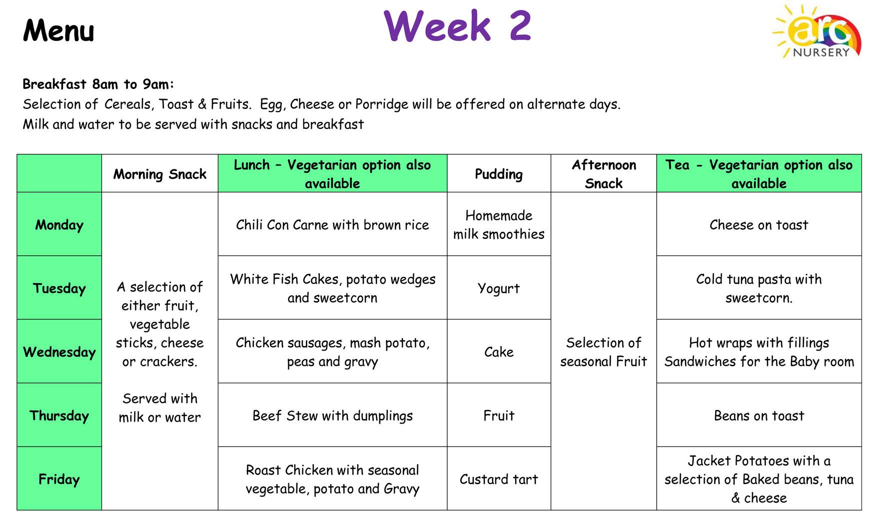 Arc Nursery Menu, Week 2