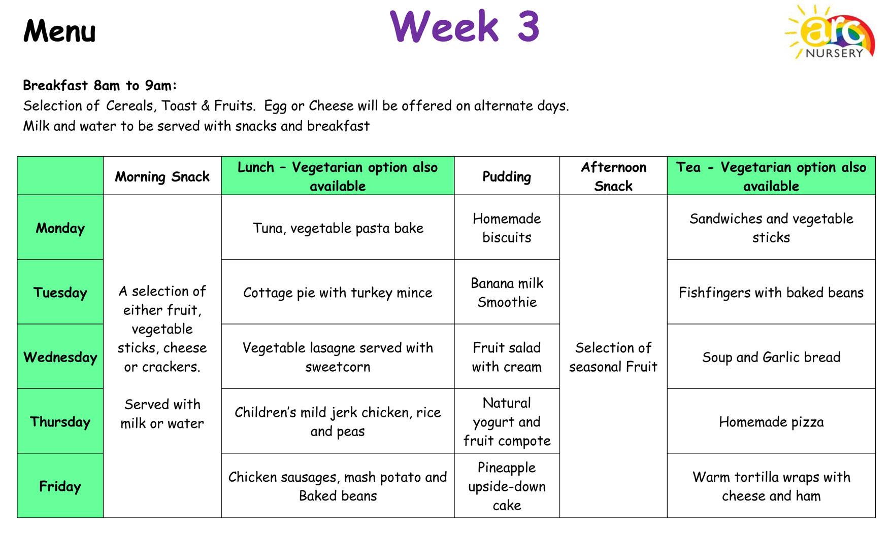 Arc Nursery Menu, Week 3